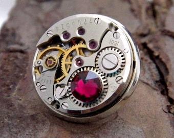 Steampunk Lapel Badge / Tie Tack / Brooch. Vintage Watch Mechanism Silver Pin Badge. Ruby - July Birthstone / 40th Wedding Anniversary
