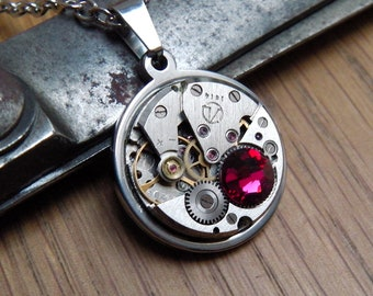 Steampunk Necklace - Vintage Watch Mechanism Necklace with Ruby Red Swarovski Crystal. Steam Punk Gift for Her. Stainless Steel.