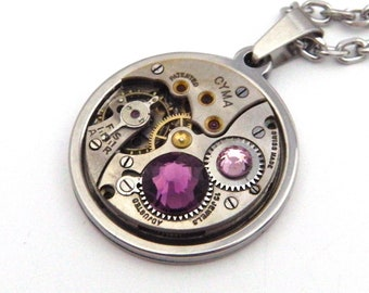 Steampunk Necklace - Vintage Watch Mechanism Pendant with Amethyst Swarovski Crystals and Stainless Steel Chain. Unusual Gift.