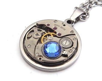 Steampunk Necklace - Vintage Watch Mechanism Pendant with Sapphire Blue Swarovski Crystal and Stainless Steel Chain. Unusual Gift.