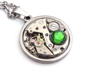 Steampunk Necklace - Vintage Watch Mechanism Pendant with Green Swarovski Crystal and Stainless Steel Chain. Unusual Gift.