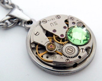 Steampunk Necklace - Vintage Watch Mechanism Necklace & Peridot Swarovski Crystal. Green Steampunk Gift, August Birthstone, 16th Anniversary