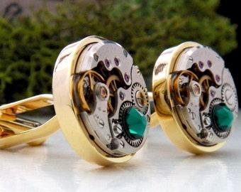 Emerald & Gold Steampunk Cufflinks with Vintage Watch Mechanisms. Wedding Anniversary / May Birthstone Gift.