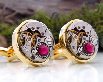 Gold Cufflinks with Vintage Watch Mechanisms & 'Ruby' Red Crystals. Wedding Anniversary / Steampunk Father's Day Gift. July Birthstone.