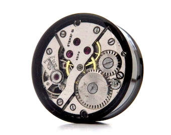 25mm Plug, Steampunk Style with Real Watch Mechanics. 1 Inch Gauge Ear Plug / Tunnel. ONE.