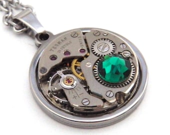 Steampunk Necklace - Vintage Watch Mechanism Pendant with Emerald Green Swarovski Crystal and Stainless Steel Chain. May Birthstone.