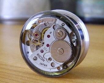 Steampunk Plug. Gears In Your Ears, Vintage Watch Mechanism Time Tunnel - 20mm / 3/4 inch gauge.