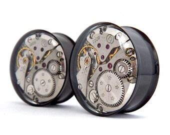 Black Steampunk Vintage Watch Movement Ear Plugs / Tunnels  - Gears In Your Ears. 24mm / 15/16 inch gauge. Pair.