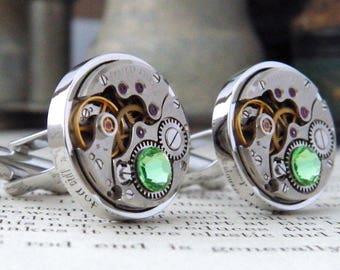 Steampunk Cufflinks with Vintage Watch Mechanisms & Light Green 'Peridot' Crystals. 16th Wedding Anniversary / August Birthstone Gift.
