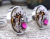 Pink Cufflinks, Contemporary Look with Watch Mechanisms & 'Fuchsia' Crystals. Steampunk Inspired, Modern Vintage Style Mens Accessories.
