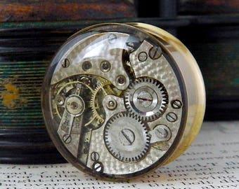 Steampunk Vintage Watch Ear Plug - Gears In Your Ears. 25mm / 1 inch gauge. Gold Tunnel.