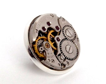 Steampunk Lapel Pin Badge, With Watch Mechanics. Silver Tone