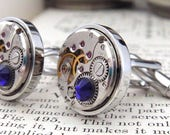 Watch Mechanism Cufflinks with 'Cobalt Blue' Crystals. Steampunk Inspired, Wedding Cuff Links, Gifts For Men.