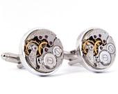 Steampunk Cufflinks, Vintage Watch Movement Cuff Links. Wedding Gift. Anniversary Present.