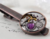 Steampunk Tie Bar / Clip. Vintage Watch Movement. Antique Copper Style Men's Accessories. Gifts For Men. With Amethyst, February Birthstone.