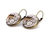 Steampunk Earrings, Featuring Vintage Watch Mechanisms. Pair, Round, Lever Backs.