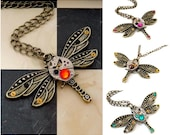 Steampunk Dragonfly Watch Movement Necklace / Pendant  - Gears With Wings. Custom made, choose your colours.