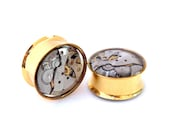 Gold & Silver Steampunk Vintage Watch Movement Ear Plugs / Tunnels  - Gears In Your Ears. 22mm / 7/8 inch gauge. Pair. Pre-Order
