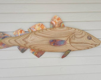 Hand Carved Cod Fish Wall Art