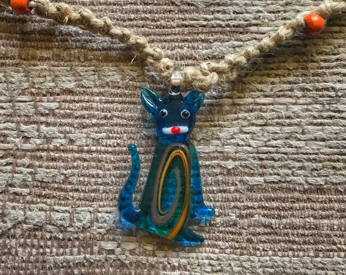 Cat Hemp Necklace, 20""