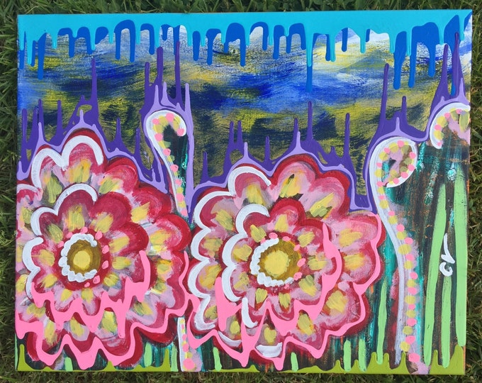 """Abstract Flower Acrylic Painting, 16""""x20"""""""