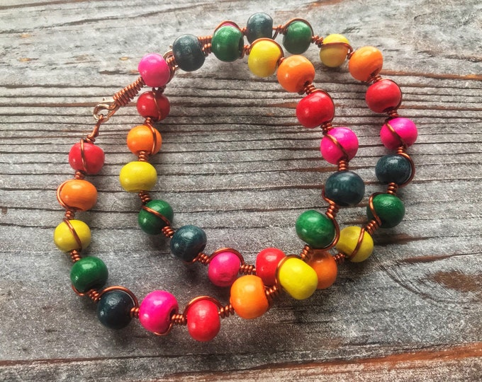Wooden Rainbow Bead and Copper Wire Bracelet, 8""
