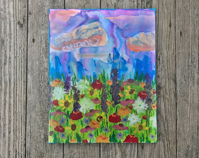 "Original Abstract Wildflower Acrylic Painting on 16""x20"" Canvas"