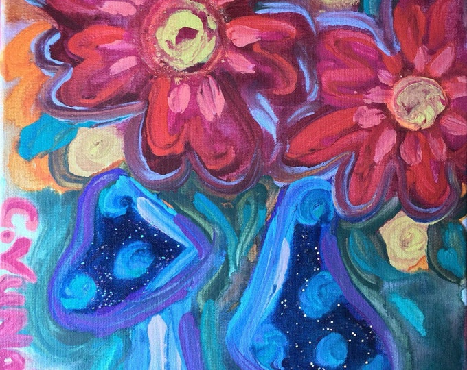 "11""x14"" Original Abstract Psychedelic Flower Painting on Canvas with Glitter"