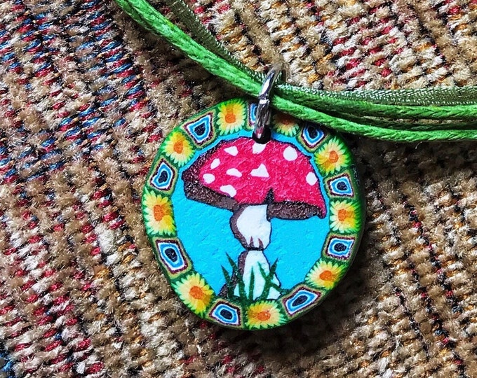 "19"" Psychedelic Trippy Mushroom Necklace with Adjustable Dull Green Ribbon Cord"