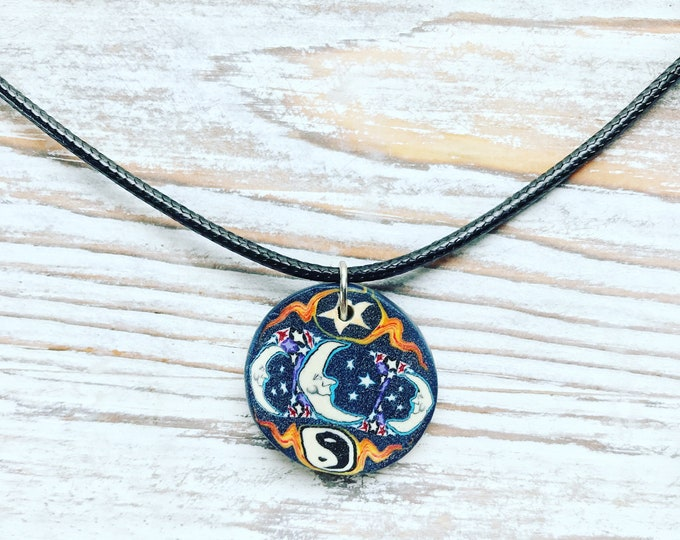 Trippy Moon Necklace, Black Moon Necklace, Trippy Star Necklace, Trippy Necklace, Moon Necklace, Star Necklace, Yin Yang Necklace, Celestial