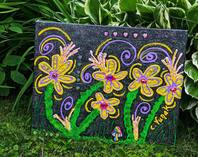"""16""""x20"""" Psychedelic Abstract Flower Mixed Media Painting with Holographic Glitter on Canvas"""