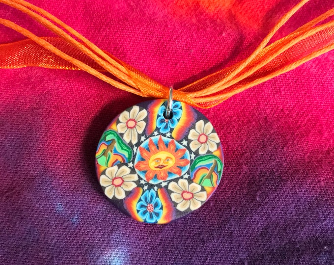 Adjustable Happy Sun and Flower Orange Necklace