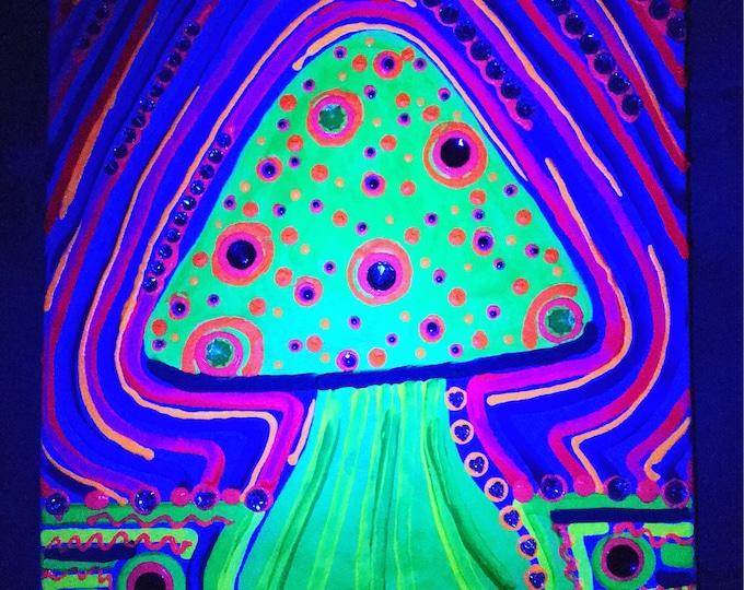 "Blacklight Mushroom Painting, 16""x20"""
