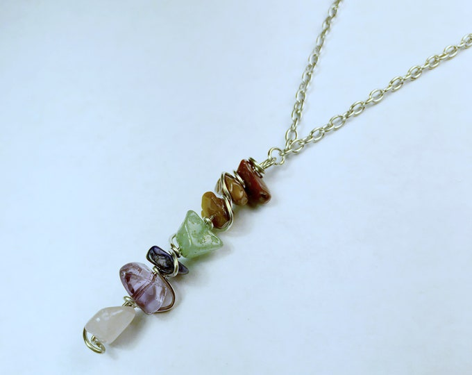 Rainbow Crystal Reiki Healing Necklace - 19.5""