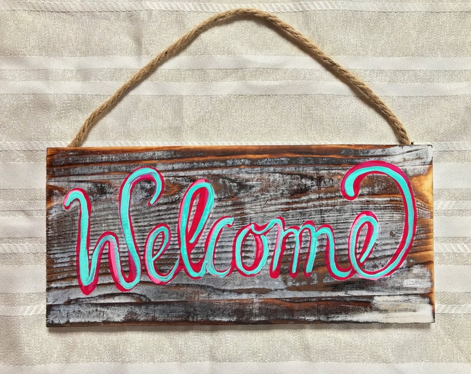 "Hand Painted Welcome Greeting Sign, 5.5""x12"""