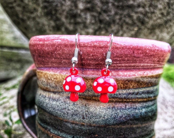 Spotted Red Enamel Mushroom Dangle Earrings