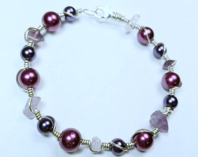 """Silver Tone Copper Wire Wrapped Purple Amethyst Bracelet, 7.5"""""""