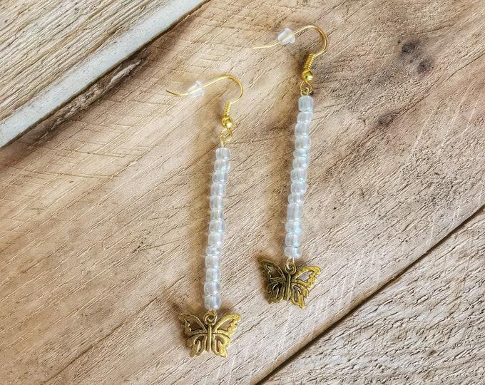Butterfly Earrings, Golden Butterfly Dangle Earrings, Iridescent Earrings, Drop Earrings, Butterfly Jewelry, Butterfly Gift, Butterfly Lover
