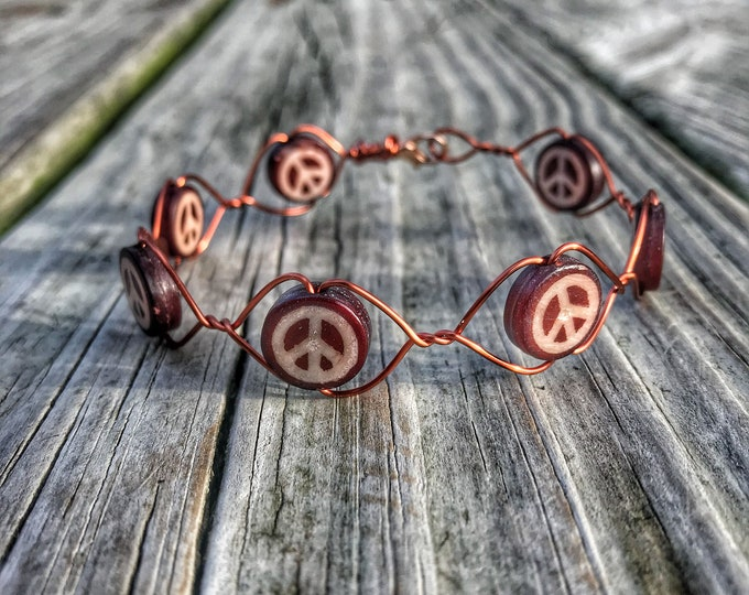 "8.5"" Copper Wire Peace Sign Bracelet"
