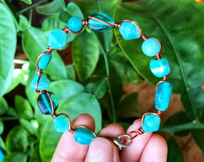"7"" Turquoise Glass Beaded Solid Copper Wire Wrapped Bracelet"