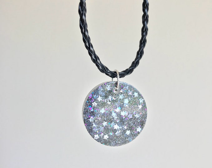 Resin Necklace, Glitter Resin Star Necklace, Glitter Necklace, Resin Star Necklace, Holographic Necklace, Holographic Jewelry, Resin Jewelry