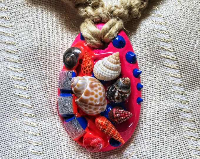 "21"" Wood and Shell Colorful Boho Hemp Necklace"