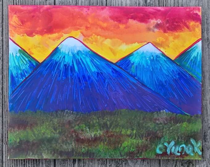 """Original Abstract Acrylic Mountain Landscape Painting on 16""""x20"""" Canvas"""