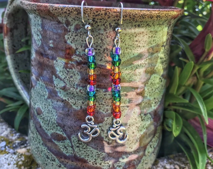 "2.5"" Rainbow Om Dangle Earrings"
