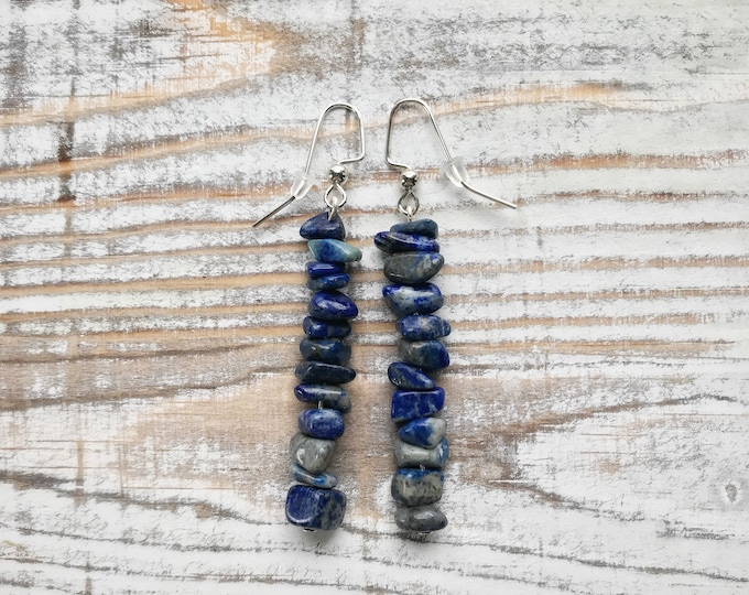 Lapis Lazuli Earrings, Lapis Dangle Earrings, Lapis Lazuli Jewelry, Lapis Lazuli, Lapis Lazuli Crystal, Crystal Earrings, Stone Earrings,