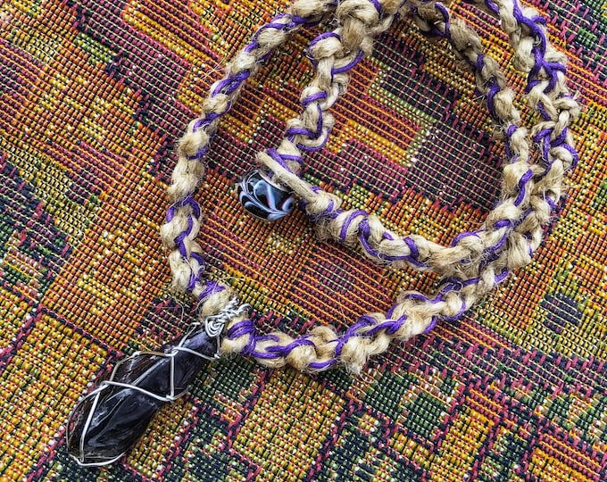 """19"""" Wire Wrapped Amethyst Crystal Hemp Necklace with Purple Accents"""