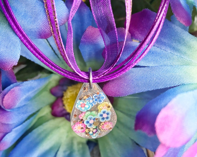 Purple Flower Resin Adjustable Glitter Summer Cute Mini Necklace, Clay Flower Glitter Cute Resin Jewelry, Clay Flower Necklace, 20""