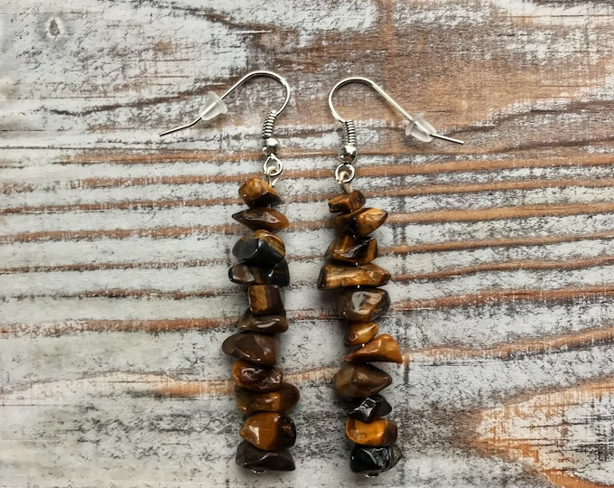 Tigers Eye Crystal Dangle Earrings, 2.5""