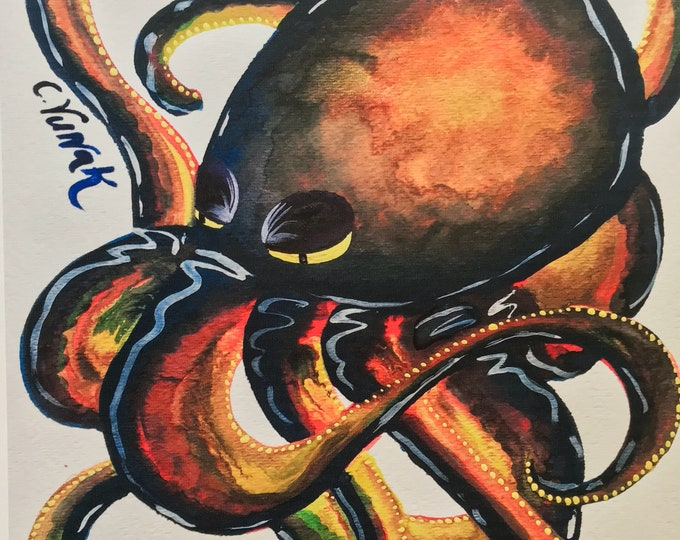 """8.5""""x11"""" High Resolution Octopus Watercolor Print"""