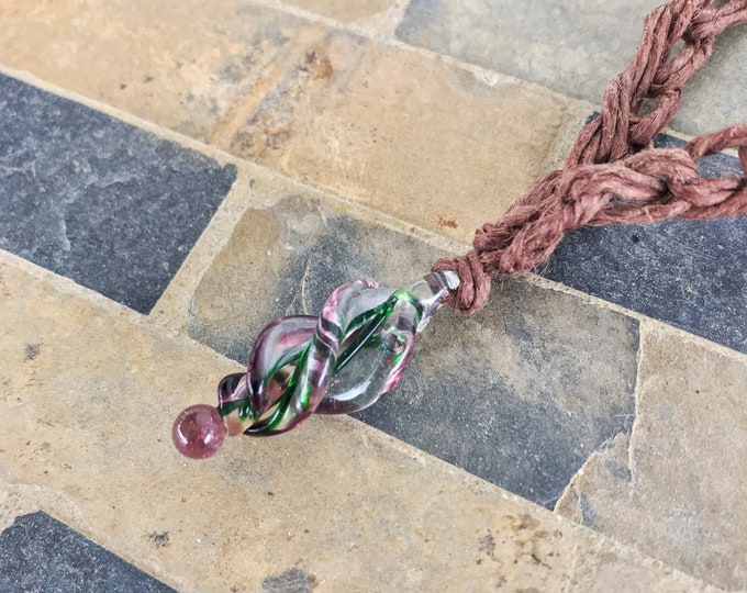Spiral Glass Pendant Crocheted Hemp Necklace